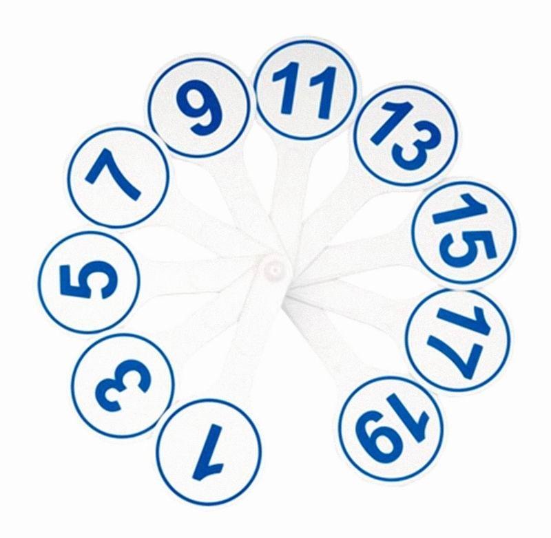 Веер цифровой 1-20 (бело-синий)