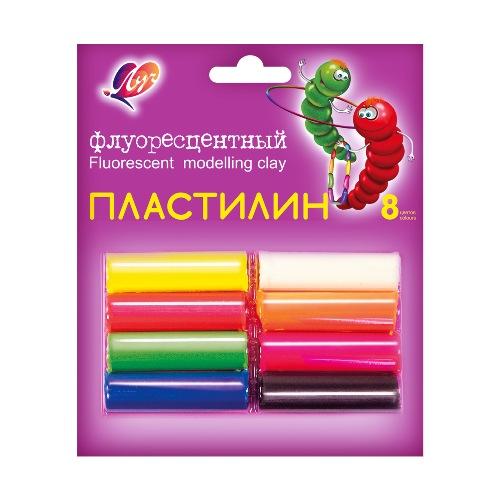 Пластилин 8 цв Луч флюор. к/к 105гр