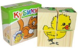 Кубики 4шт деревянные Сложи рисунок: Животные