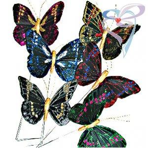 Бабочка на палочке средняя цветная с золотом