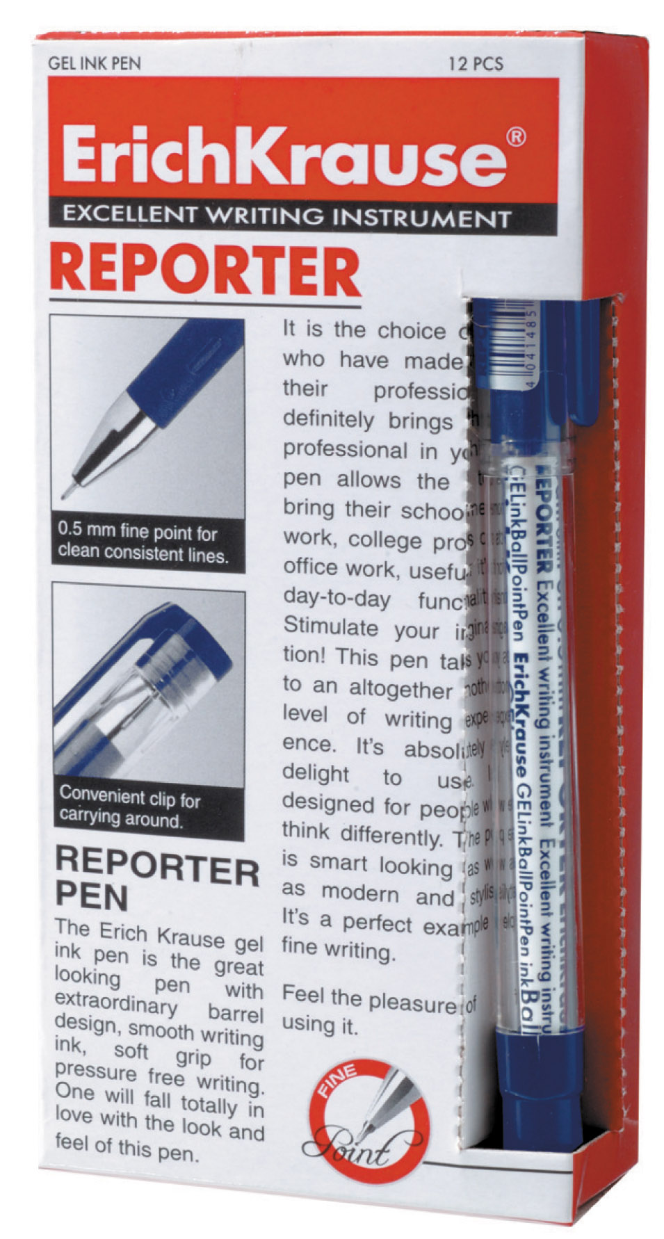 Ручка гелевая синяя EK Reporter