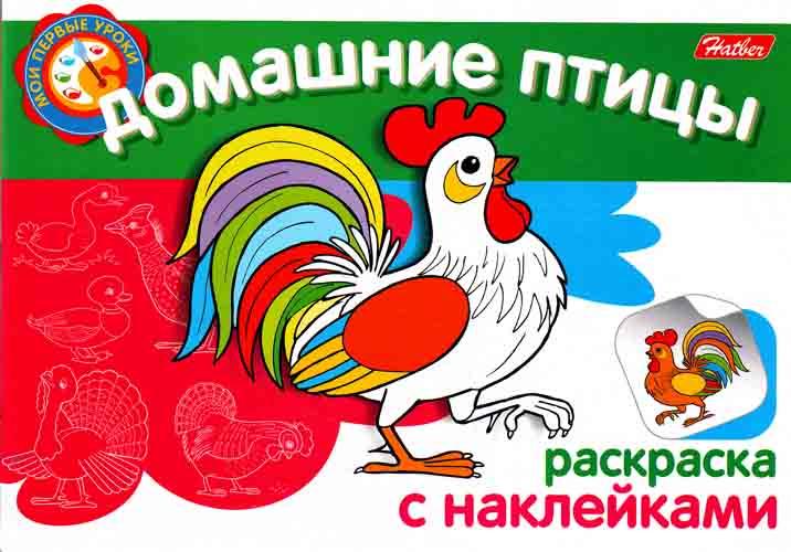 Раскраска Домашние птицы: Раскраска с наклейками