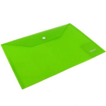 Папка-конверт Proff на кнопке зеленая полупрозр. реб. 0.20мм