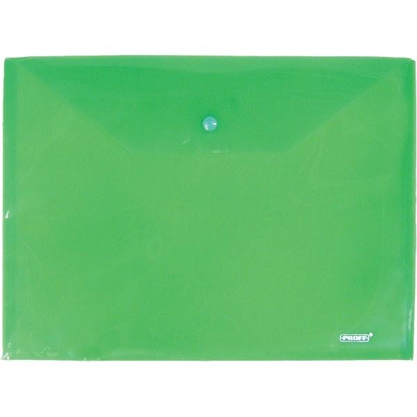 Папка-конверт Proff на кнопке зеленая 0.18мм