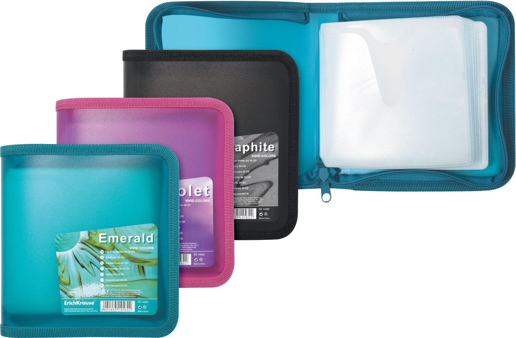 Футляр для 24 CD EK Vivid Colors цвет в ассорт.