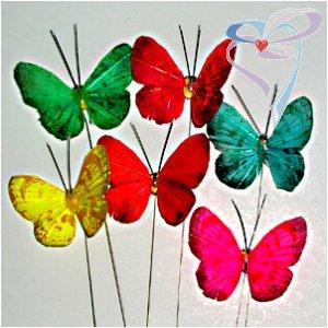 Бабочка на палочке малая цветная 3.5*4.5см