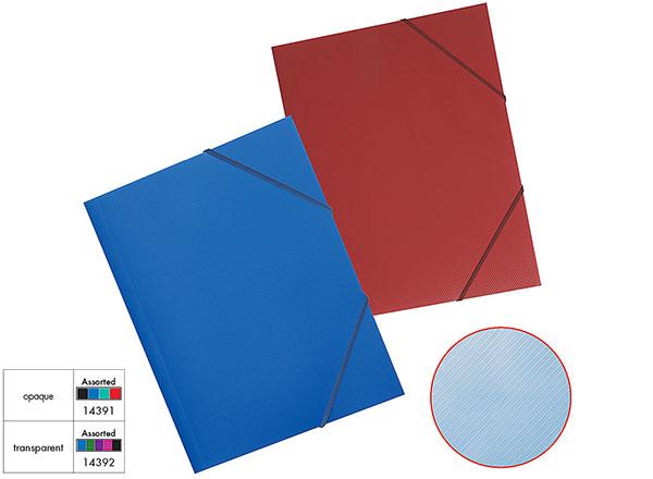 Папка на резинках А4 EK Diagonal ребристр. прозрачная