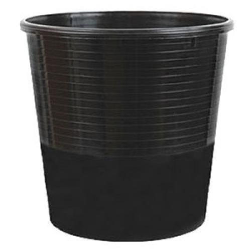 Корзина д/бумаг 12л цельная круглая черная пластик.