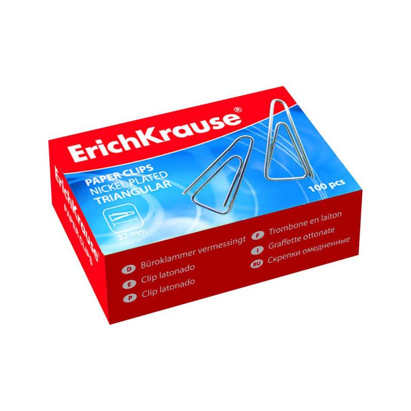 Скрепки 25мм 100шт треугольные никелиров.