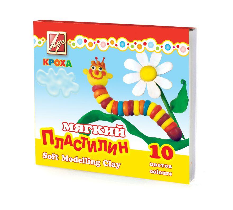 Пластилин 10 цв Кроха 165гр мягкий + стек