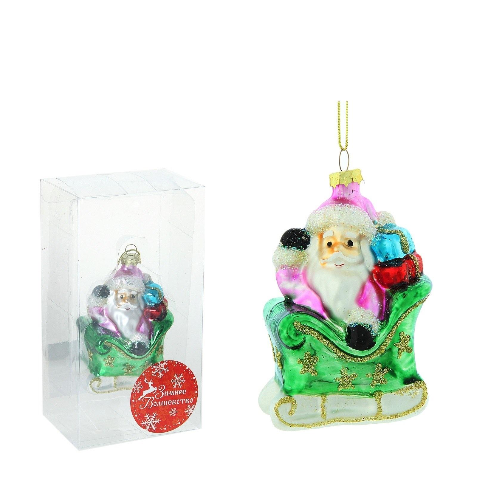 НГ Елочные украшения-подвески 2шт Дед Мороз на санях (золот)