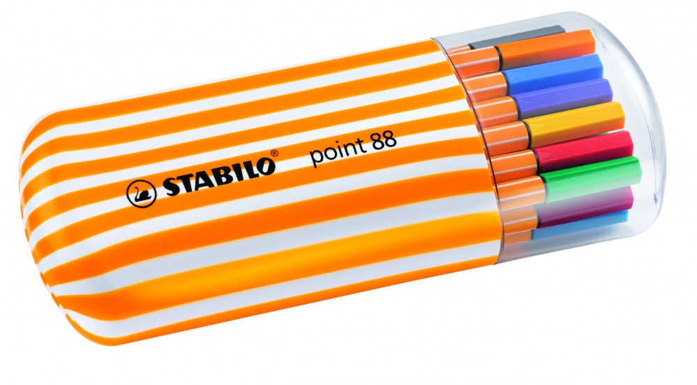 Ручки капилярные 20 цв Stabilo пенал овальный