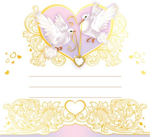 Открытка 4-07-007А Без названия мал.стойка фольга голуби (карточка гостя)