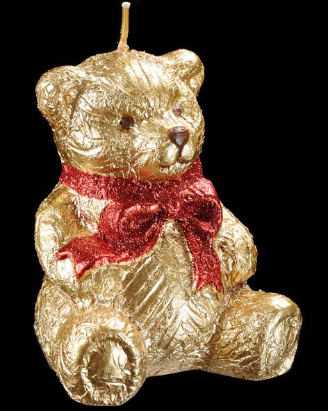 Праз Свеча Мишка золотой 8см