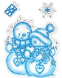 Наклейки на окна Новогодние Два снеговика