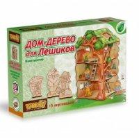 Конструктор деревянный Вуди Дом-дерево для лешиков + 5 персонажей дерев