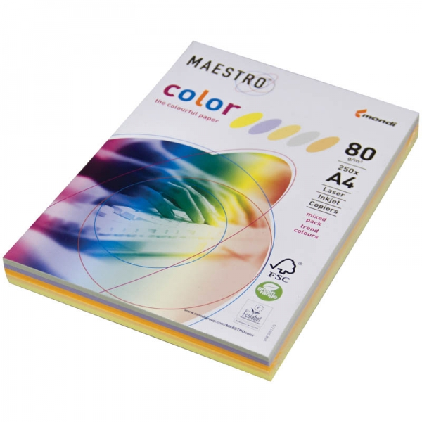 Бумага А4 250л Maestro Color Pastell Mixed Packs 5 цветов 80г/m2