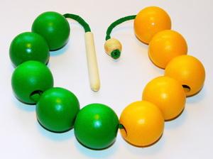 Бусы Счет до 10 (желто-зеленые)