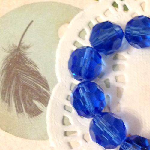 Бусины стеклянные граненые d10мм 10шт/уп Темно-синий