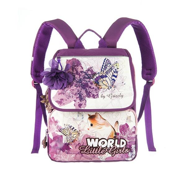 Рюкзак Grizzly лиловый + мешок д/обуви ортопедический