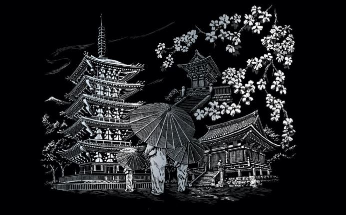 Гравюра 32,4*40см Чудеса Света. Храм Киото серебро