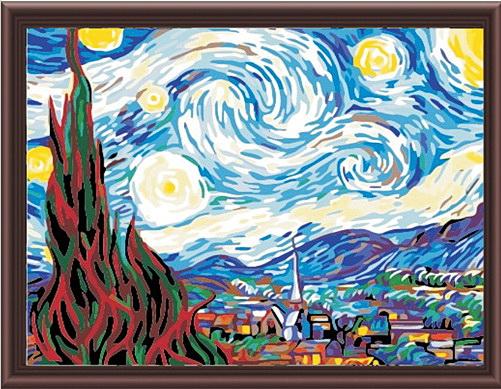 Картина по номерам 40х50 Звездная ночь Ван Гог