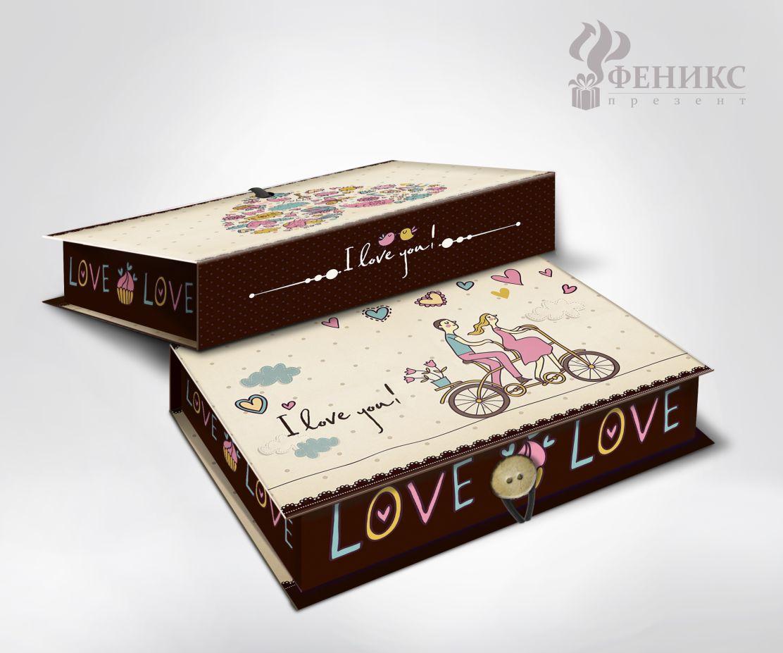 Коробка подарочная прямоугольная 18*12*5см Любовь