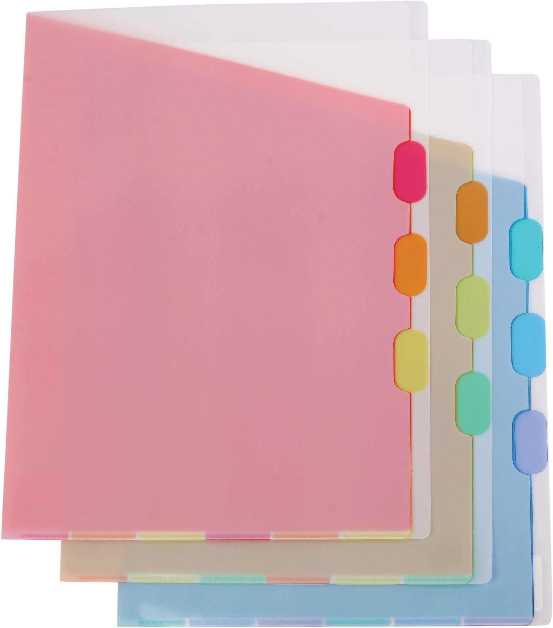 Папка-уголок 4 отд полупрозрач. цветной