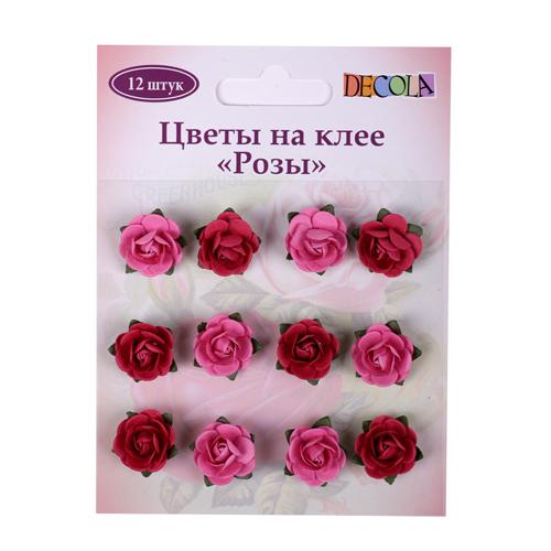 Украшения Розы розовые 12шт на клее