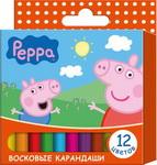 Карандаши восковые 12цв Свинка Пеппа