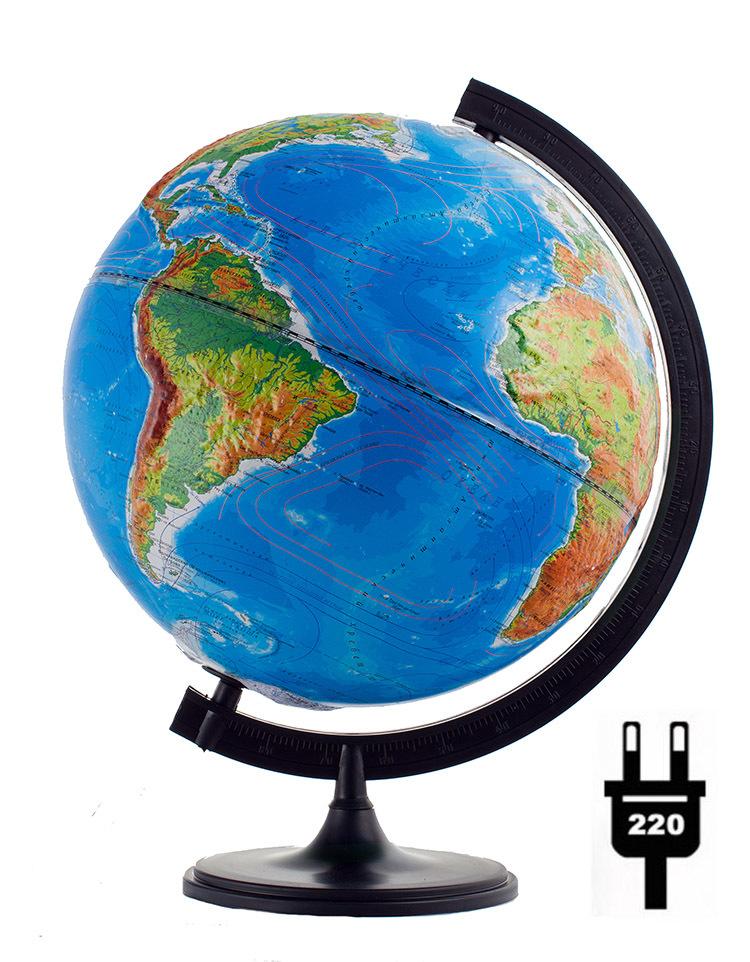 Глобус d-32 полит./физич. рельефный (с подсветкой) М 1:40 000 000