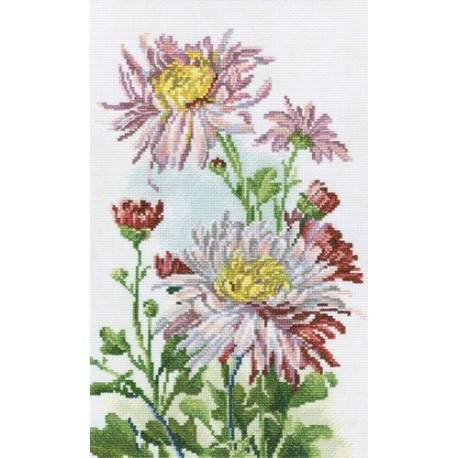 Набор для вышивания крестом 20*32 Розовые хризантемы