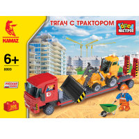 Конструктор Камаз Тягач с трактором 308 дет. пластмас.