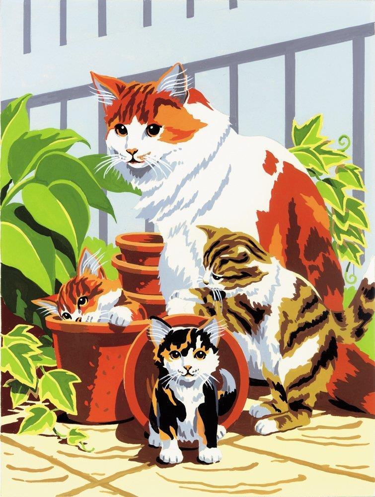 Раскраска по номерам Средний уровень Кошка с котятами 24,1*33