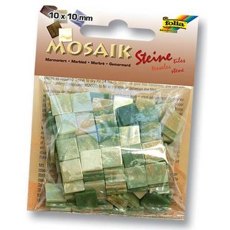 Мозаика 10*10мм Мраморная Оттенки зеленого 190шт