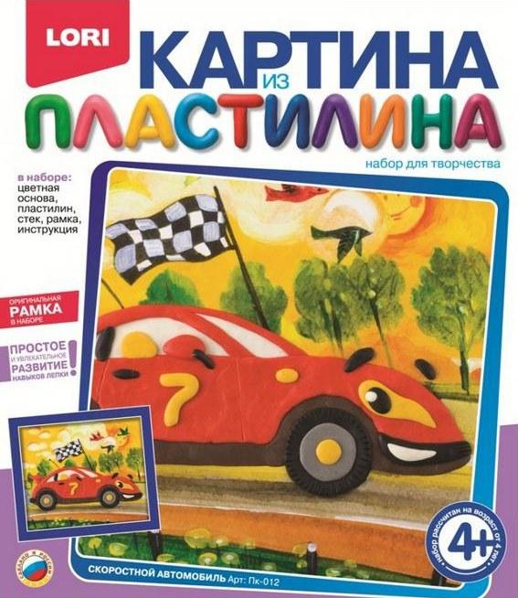 Картина из пластилина Скоростной автомобиль