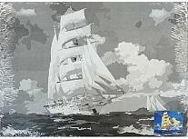 Холст на карт с эскиз грунт 30х40 Парусник в море