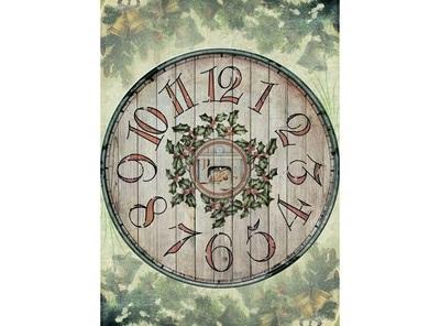 Бумага для декупажа 28*38 25гр/м2 рисовая Деревянные часы