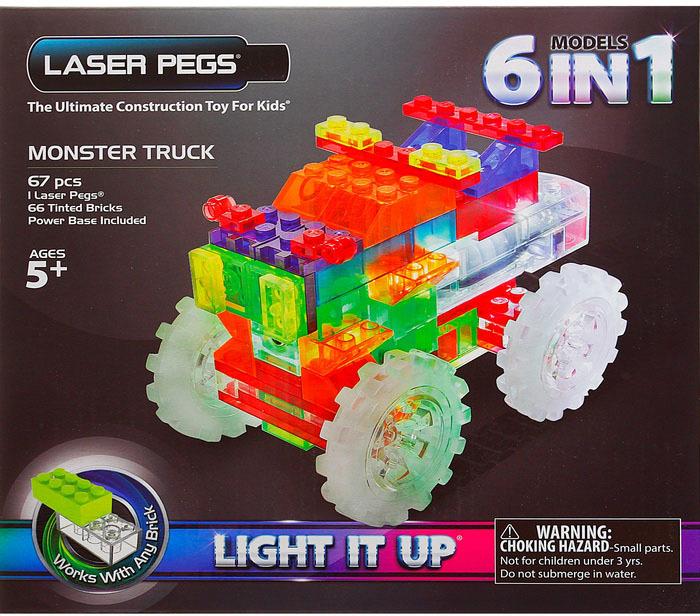 Конструктор Laser Pegs Светящийся Гигантский грузовик 6 в 1 пласт., бат