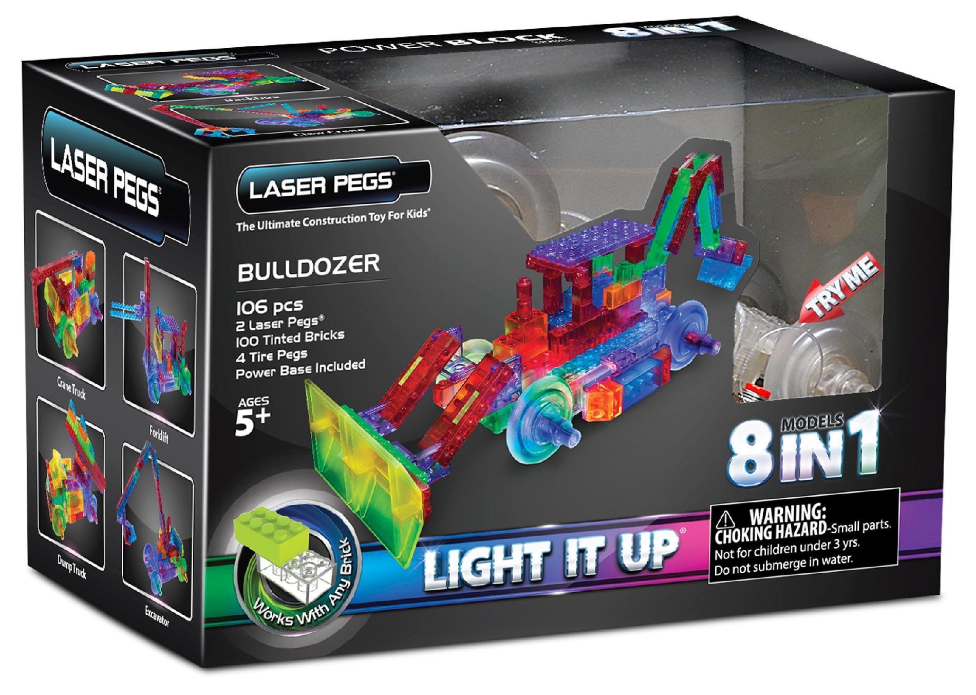 Конструктор Laser Pegs Светящийся Бульдозер 8 в 1 пластмас., батар.