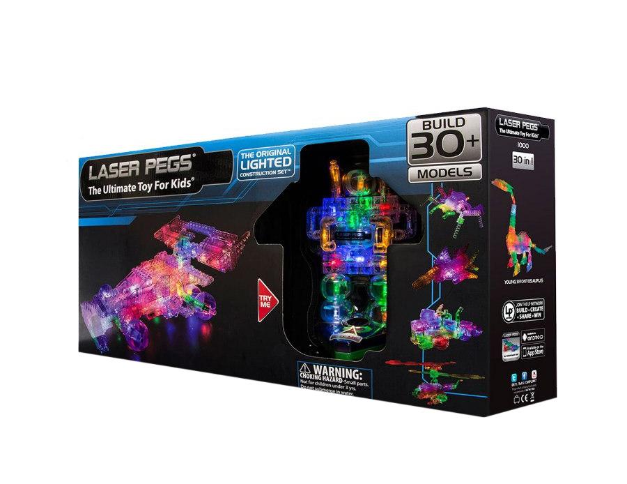 Конструктор Laser Pegs Светящийся Болид 30 в 1 пластмас., батар.