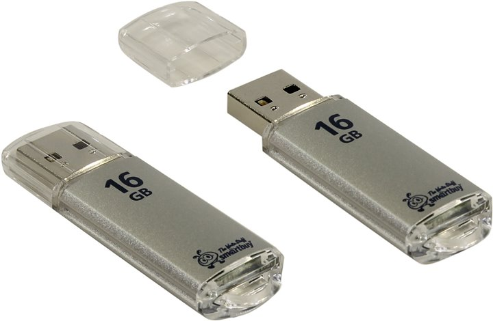 Флэш-карта USB 16GB Smartbuy V-Cut Series метал серебро