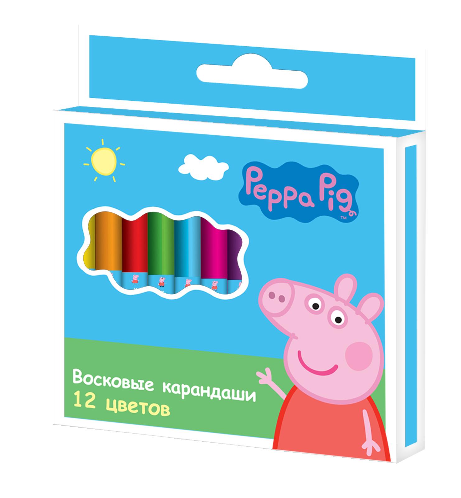 Карандаши восковые 12 цв Свинка Пеппа