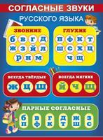 Плакат Согласные звуки русского языка А2 вертик дети синий