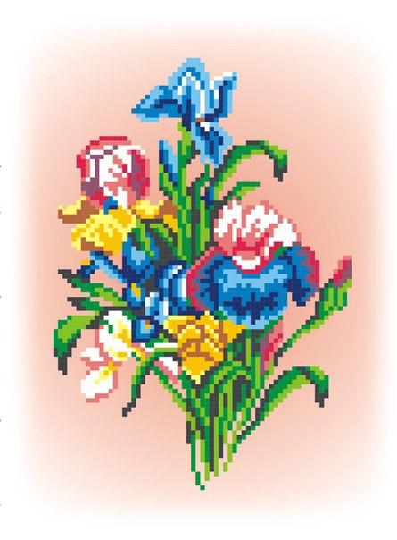 Набор для вышивания сх.канва + мулине 19х14 Цветы
