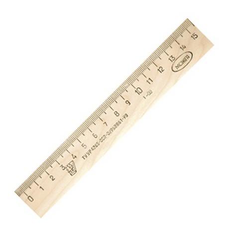 Линейка деревянная 15 см (со штрих кодом)