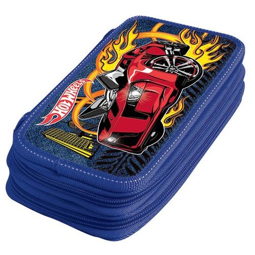 Пенал 2 отд полн Limpopo Mattel Hot Wheels синий