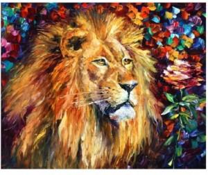 Картина по номерам 40*50 Л. Афремов. Лев и роза
