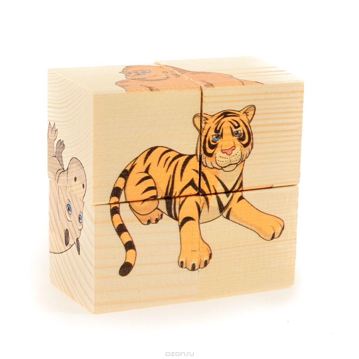 Настольная Кубики-пазл 4шт. Дикие животные