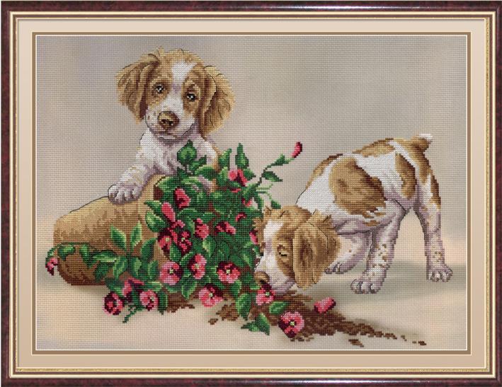 Вышивка диз.канва 30х40 Два щенка с цветами